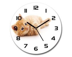 Zegar ścienny szklany okrągły Rudy kot