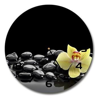 Zegar ścienny szklany okrągły Orchidea
