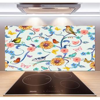 Panel do kuchni Kwiaty i ptaki