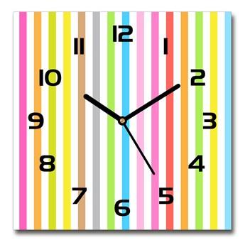 Zegar szklany kwadratowy Kolorowe paski