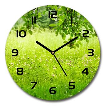 Zegar szklany na ścianę Zielona łąka