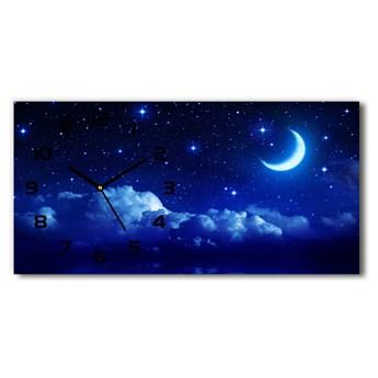 Nowoczesny zegar ścienny szklany Niebo nocą