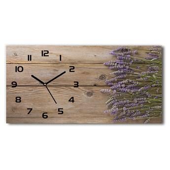 Zegar ścienny szklany Lawenda na drewnie