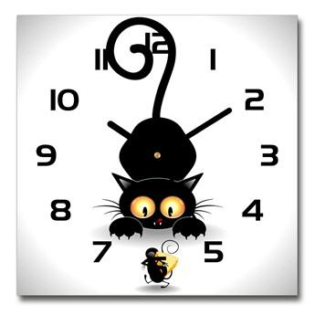 Zegar szklany kwadratowy Kot i mysz