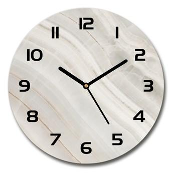 Zegar szklany okrągły Marmurowa tekstura