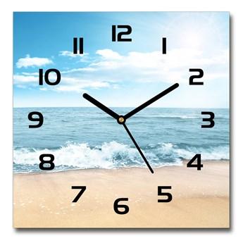 Zegar ścienny szklany kwadratowy Plaża