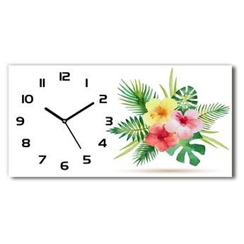 Zegar ścienny szklany Hawajskie kwiaty