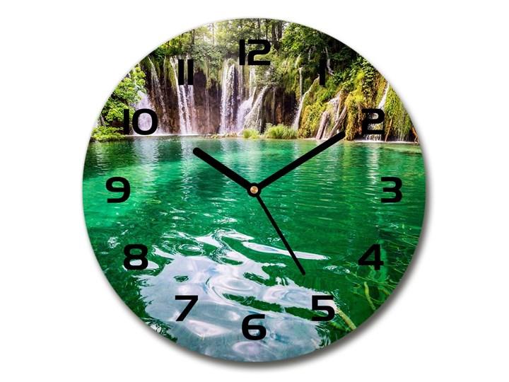 Zegar szklany okrągły Jezioro Plitwickie Szkło Zegar ścienny Kolor Zielony