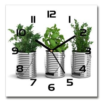 Zegar szklany kwadratowy Aromatyczne rośliny