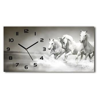 Nowoczesny zegar ścienny szklany Białe konie