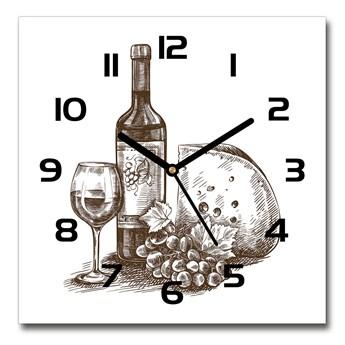 Zegar szklany kwadratowy Wino i przekąski