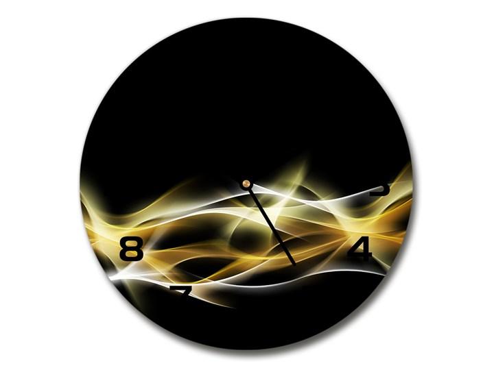 Zegar szklany na ścianę Abstrakcja światła Szkło Okrągły Tworzywo sztuczne Zegar ścienny Kolor Czarny Kategoria Zegary