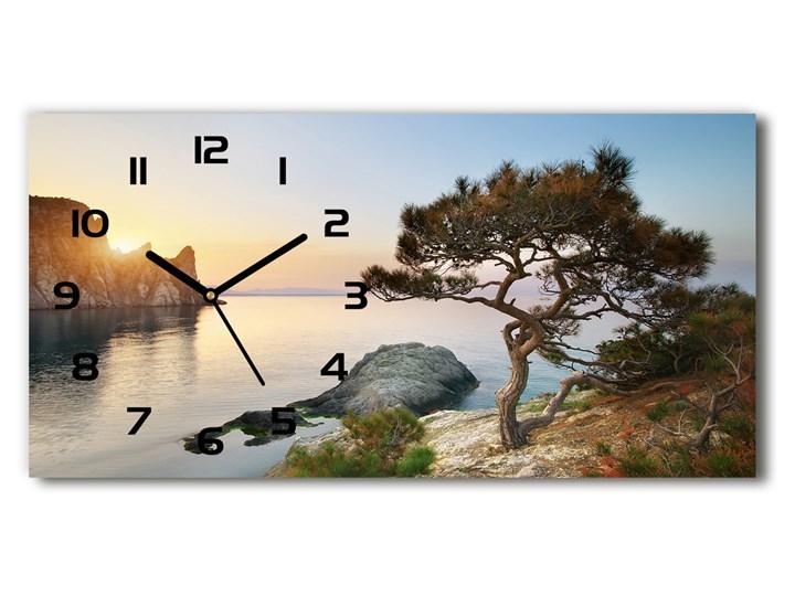Zegar ścienny szklany Drzewo nad morzem Prostokątny Szkło Pomieszczenie Kuchnia