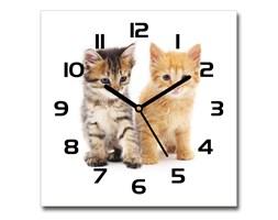 Zegar szklany kwadratowy Brązowy i rudy kot