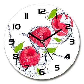 Zegar szklany okrągły Malina i woda