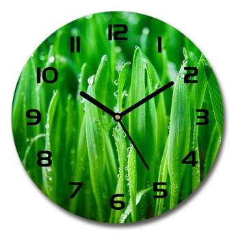 Zegar ścienny szklany okrągły Trawa