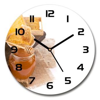 Zegar ścienny szklany okrągły Miód