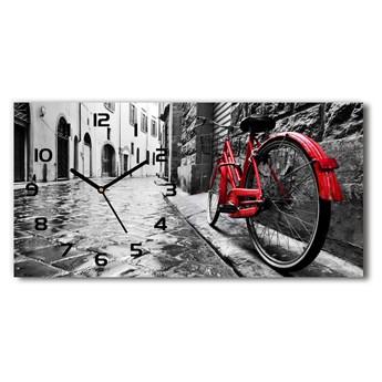 Zegar ścienny szklany cichy Czerwony rower