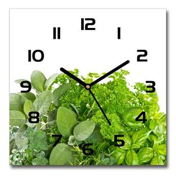 Zegar ścienny szklany kwadratowy Zioła