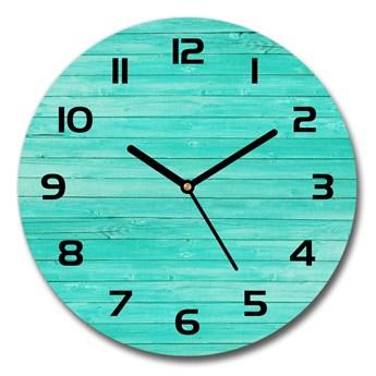 Zegar szklany okrągły Zielone deski