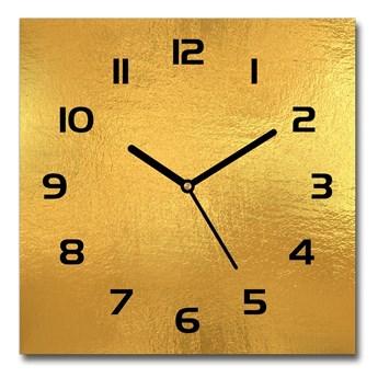 Zegar szklany kwadratowy Złota folia tło