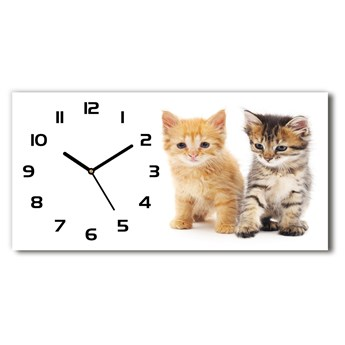 Zegar ścienny szklany Brązowy i rudy kot