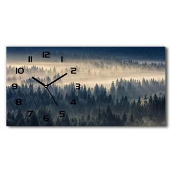 Zegar ścienny szklany cichy Mgła nad lasem
