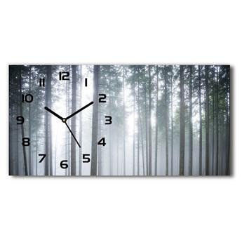 Zegar ścienny szklany cichy Mgła w lesie