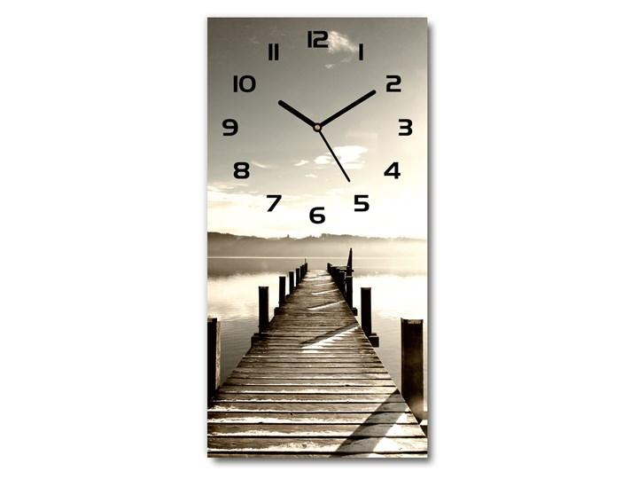 Zegar szklany ścienny Drewniane molo Zegar stołowy Zegar ścienny Szkło Drewno Budzik Prostokątny Styl Nowoczesny