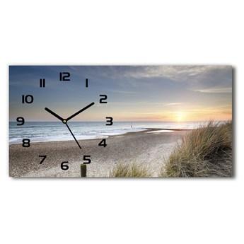 Zegar ścienny szklany Zachód słońca i wydmy