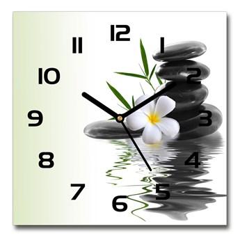 Zegar szklany kwadratowy Orchidea i kamienie
