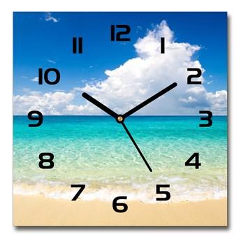 Zegar szklany kwadratowy Rajska plaża