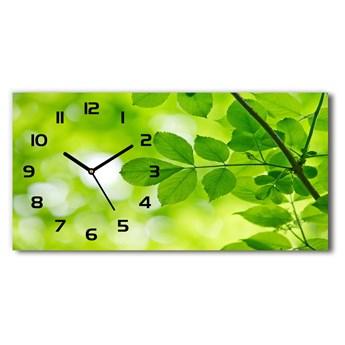 Zegar ścienny szklany cichy Zielone liście