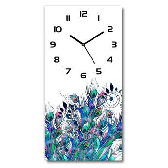 Nowoczesny zegar ścienny Pawie pióra