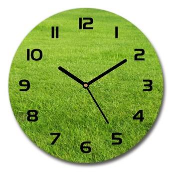 Zegar szklany okrągły Zielona trawa