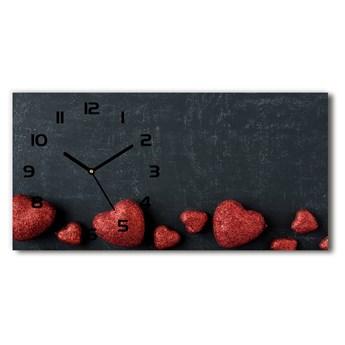 Zegar ścienny szklany Serca na tablicy
