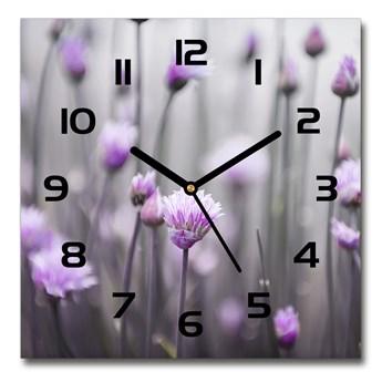 Zegar szklany kwadratowy Kwiaty szczypiorku