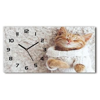 Zegar ścienny szklany Kotek w swetrze
