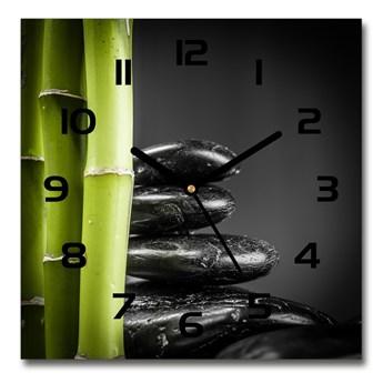 Zegar ścienny szklany kwadratowy Bambus