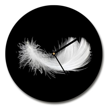 Zegar ścienny szklany okrągły Piórko