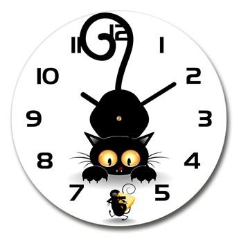 Zegar szklany okrągły Kot i mysz