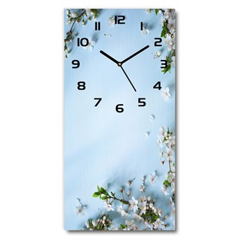 Zegar szklany ścienny Kwiaty wiśni