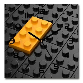 Zegar szklany kwadratowy Klocki lego