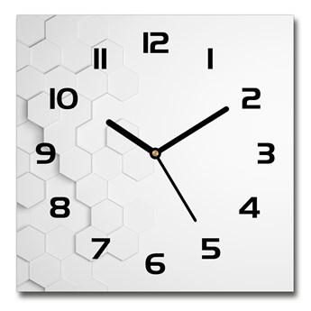 Zegar szklany kwadratowy Sześciokąty tło