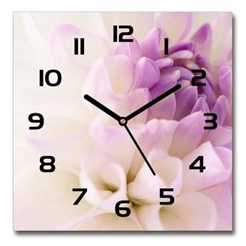 Zegar szklany kwadratowy Biała dalia