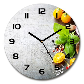 Zegar ścienny szklany okrągły Warzywa