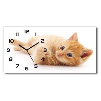 Nowoczesny zegar ścienny szklany Rudy kot