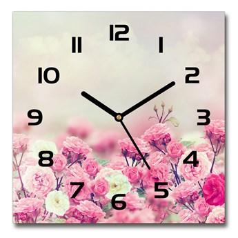 Zegar szklany kwadratowy Kwiaty dzikiej róży