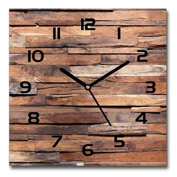 Zegar szklany kwadratowy Drewniana ściana