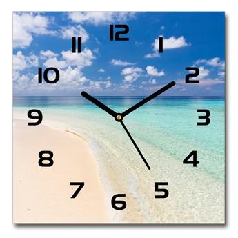 Zegar szklany kwadratowy Plaża na Malediwach